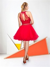 Scarlet Two-Pieces Dropped Waist Softly Tulle Short Homecoming Dress Beaded