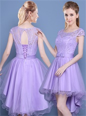 Elegant Lilac Dancing Party High Low Edge Curl Tulle Skirt