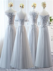Bridesmaid Group Girls Long Elegant Silver Series Dress Different Neck
