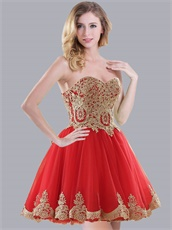 Popular Ananas Comosus Pattern Short Cocktail Red Dress Under 80