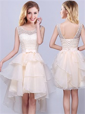 Champagne Elegant Scoop Knee Ruffles Length Dama Dress Homecoming Dress