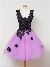 Lilac Short Dama Draped Tulle Skirt Party Dress With Black Appliques