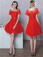 Best Seller Tulle Scoop Neck Red Dama Dresses Flouncing