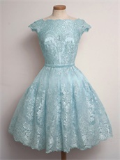 Available Conservative High Neck Short Lace Dresses For Prom