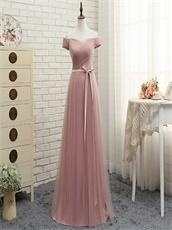 Pretty Cameo Brown Series Neckline Floor Length Dress For Bridesmaids