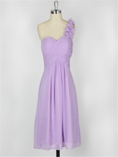 One Shoulder Petal Neck Elegant Lilac Bridesmaids Group Wear Price Under 60