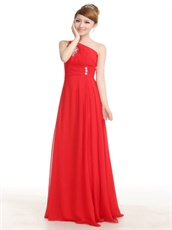Single Strap Red Long Chiffon Homecoming Dress With Crystal Embellished