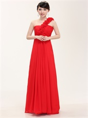 Princess Graduation Dress One Shoulder Rose Strap Red Chiffon