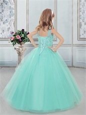 See Through Bateau Neckline Tulle Little Girl Pageant Dress in Apple Green