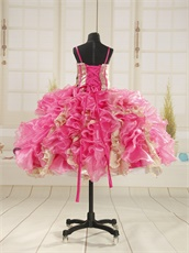 Hot Pink With Gold Sequin Lace Ruffles Ankle Length Pagent Girls Wear