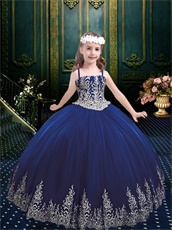 Girls Wear Western Quinceanera Ball Gown Dark Royal Blue With Silver Embroidery