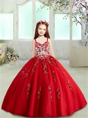 Double Straps Red Exquisite Embroidery Ball Gown Puffy Skirt New 2019