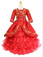 Western Gold Embroidery Layers Organza Child Flower Girl Red Puffy Gown With Jacket