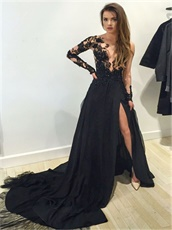 Nude Tulle Transparent Upper Bodice Sexy Slit Prom Dress Long Sleeves