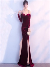 Velour Double Straps Cross Back Sexy Split Pagent Gowns For Lady 2018 Year-End