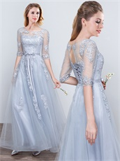 Noble Lucid Half Sleeve Floor Length Silver Mother Of Bride Wear