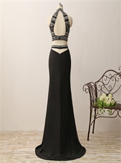 Silver and Gold Beading Two-pieces Floor Length Evening Dance Dresses