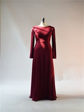 Burgundy Spandex Custom Fit Long Sleeves Mother Of Wedding Dress Traditional