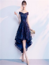 Best Aliexpress Style Navy Blue Pop High Low Prom Party Dress By Lace