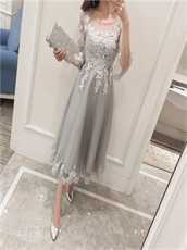 Grey Tea-Length 4 Layers Tulle Skirt With Appliques Fashion Style