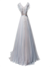 Baby Blue and Baby Pin Flouncing Neckline Wrinkle Tulle Skirt For 2019