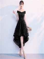2018 Hot Sale Amazon Style Black V Lace High Low Prom Party Dress