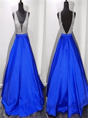 Affordable Silver Upper Bodice Matching A-line Royal Blue Skirt For Pub