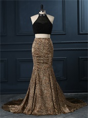 Show Waist Two-Pieces Black With Leopard Pattern Mermaid Skirt Prom Wear
