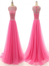 Multilayered A-line Tulle Hot Pink Evening Dress Silver Beading