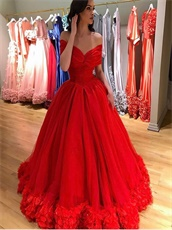 Portrait Round The Shoulder Puffy Prom Gown With Handmade 3D Flower Hemline