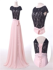 Dignified Pink Chiffon Long Pageant Dress Black Lace With Ribbon