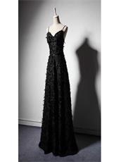 Shiny Black Lace With Feather Honorable Evening Dress For Special Occasion