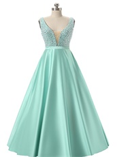 Glass Crystals V Neck Mint A-line Satin Fashion Prom Dresses