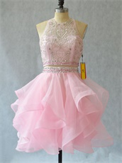 High Scoop Neck Two-Pieces Ruffles Short Organza Prom Dress Lovely Pink