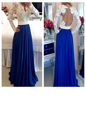 Pearl Embellished Chiffon Pageant Prom Dress Long Lace Sleeves