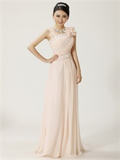 Blanched Almond Asymmetric Straps Prom Dress Sunshine Daytime Highlight Skin