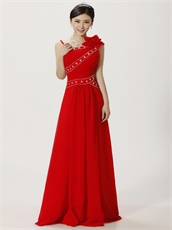 Asymmetric Straps Red Floor Length Cocktail Prom Dress Sunshine