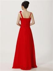 Asymmetric Straps Red Floor Length Cocktail Prom Dress Sunshine