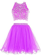 Curly Tulle Hemline Two-Pieces Amazon Hot Sell Short Prom Dress