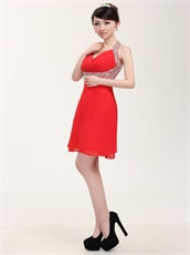 Youthful Halter Short Red Homecoming Dress For High School
