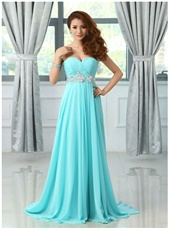 Aqua Blue Chiffon Long Dress For Special Occasion Wear