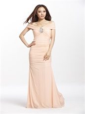 Blush Color System Nightclub Sheathy Sexy Prom Dress Elastic Chiffon