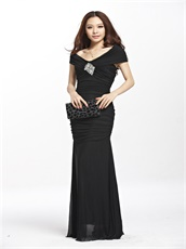 Circumference Shoulder V Neck Black Elastic Chiffon Club Dress Sheath