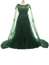 Luxurious Hunter Green Applique Prom Dress Cloak From Shoulder To Floor