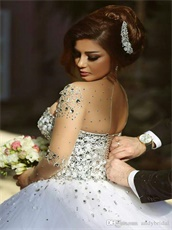 2018 Best Seller White Prom Ball Gown With Nude Fabric Neck & Sleeves
