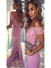 Off Shoulder Sheath Lilac Full Dress Sweep Train With Triangular Lace