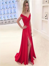 Sexy Off Shoulder Red Evening Stage Event Dress With Split
