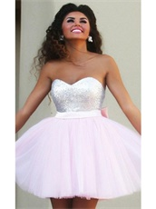 Cute Baby Pink Puffy Tulle Short Homecoming Dress For Young Girl