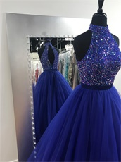 High Collar Royal Blue Tulle Evening Gowns With Colorful Crystals Bodice