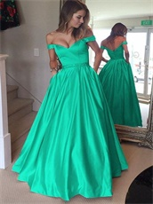 Off Shoulder Turquoise Puffy Satin Very Formal Dresses Has Pockets